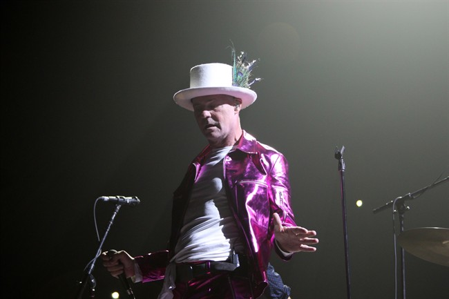 The Tragically Hip's Gord Downie, performs during Man Machine Poem tour.