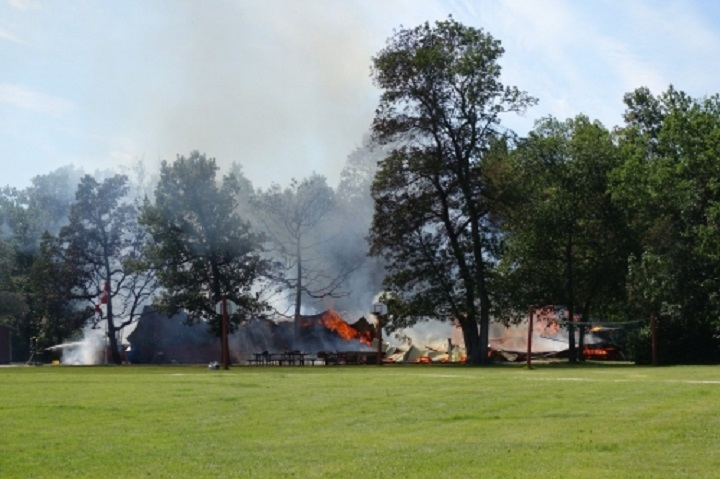 Fire rips through main facility at the Dauphin Bible Camp Monday afternoon.