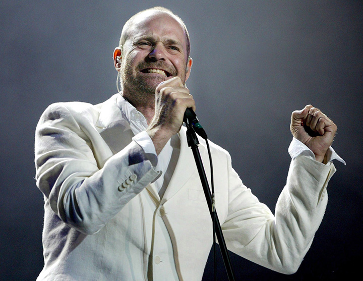 Gord Downie of The Tragically Hip sings during the band's performance at the Concert for Toronto at Skydome in Toronto Saturday June 21, 2003.