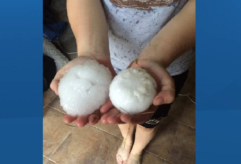 Hail from Tuesday afternoon in Manitou, Man.