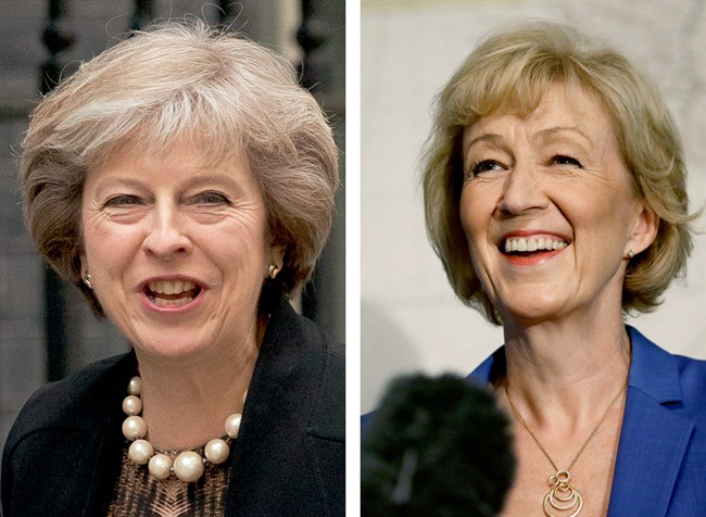 Theresa May, left, dated July 5, 2016, and Andrea Leadsom, right, dated July 4, 2016.