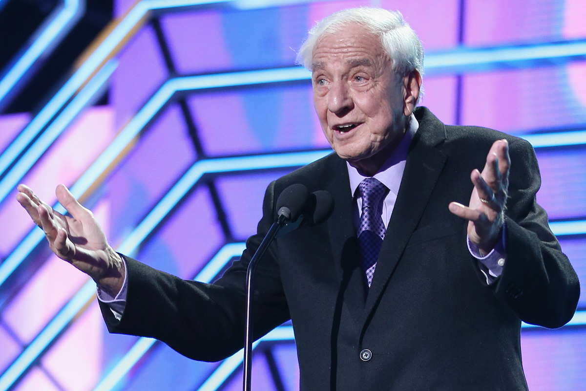 Actor Garry Marshall presents the Timeless Icon Award onstage during the 2016 TV Land Icon Awards at The Barker Hanger on April 10, 2016 in Santa Monica, California.