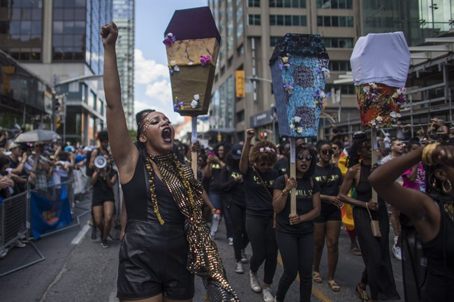 Black Lives Matter Toronto says it has been inundated with hate mail since its sit-in during Sunday's Pride parade.