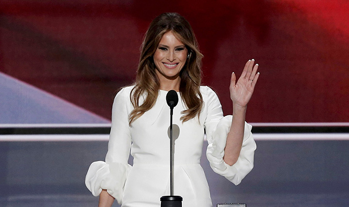 Melania Trump waves as she arrives to speak at the Republican National Convention in Cleveland, Ohio, in this July 18, 2016 photo.