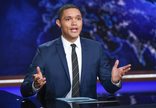 Trevor Noah appears during a taping of 'The Daily Show with Trevor Noah' in New York.