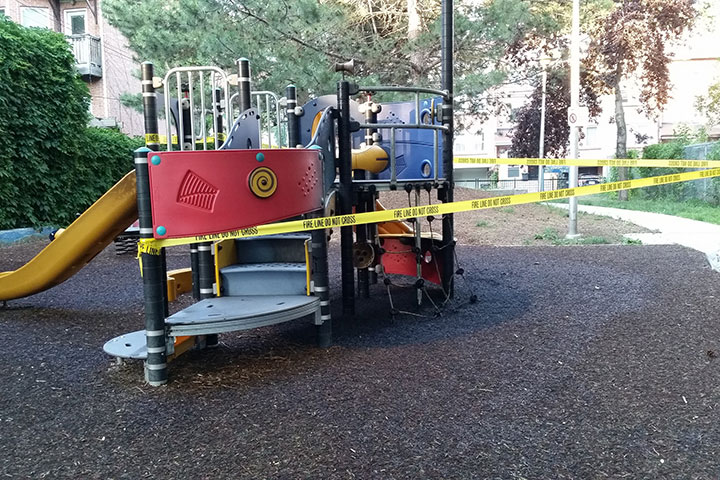 Supplied photo of the burnt playground.