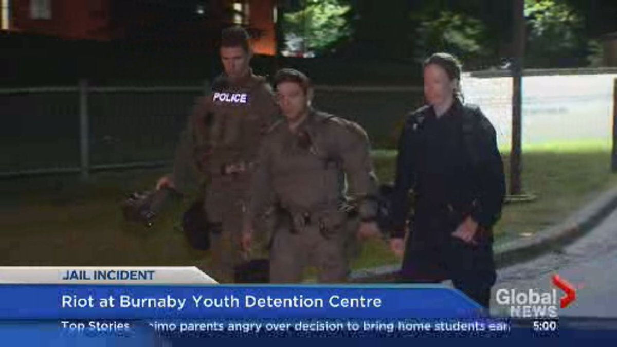 Police on scene outside the Burnaby Youth Detention Centre early Wednesday morning.