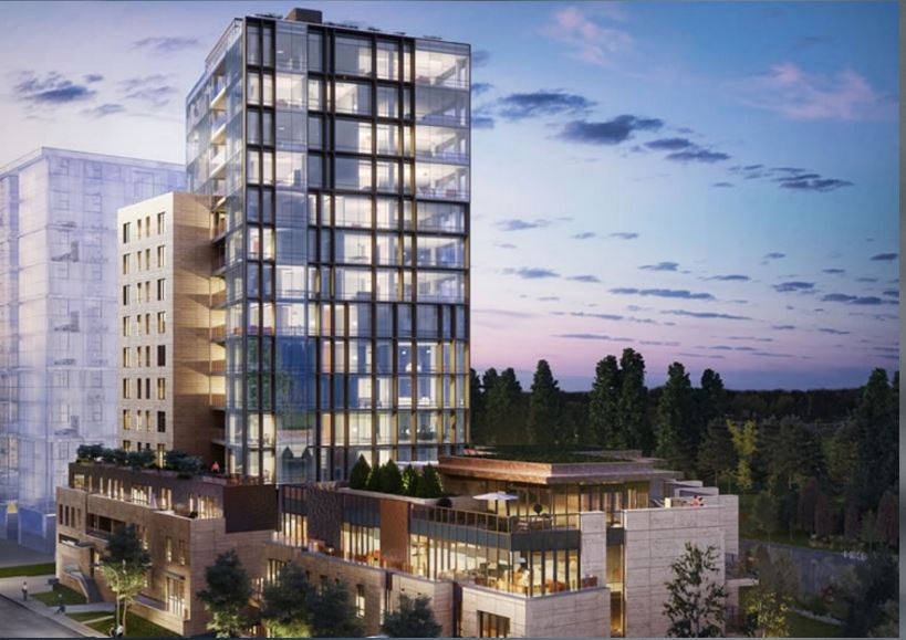 The exterior of The River, a riverfront condominium development in Calgary.