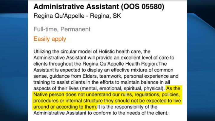 The Regina Qu'Appelle Health Region's job ad for an administrative assistant, as seen on Facebook.