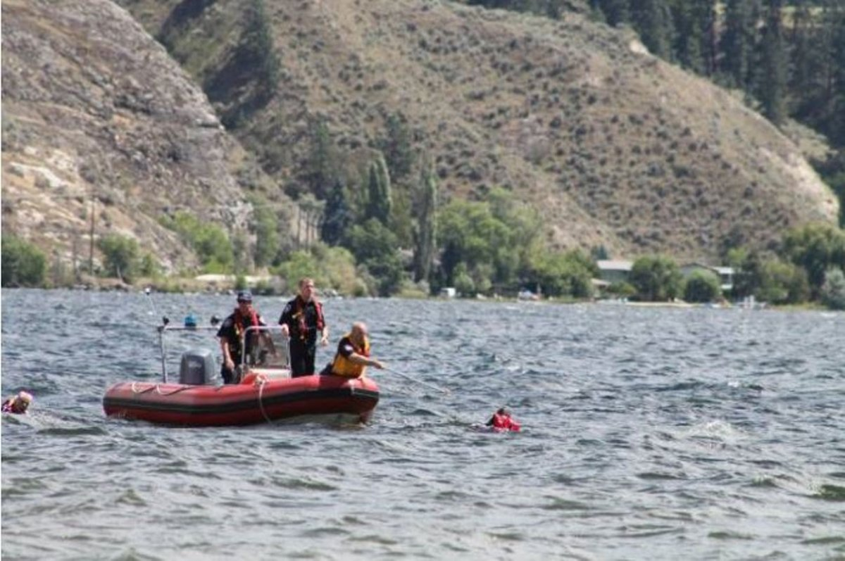 A file photo of rescue crews on Skaha Lake on Sunday, July 3, 2016 when a man was pulled from the water near the same spot where the B.C. day long weekend drowning happened.