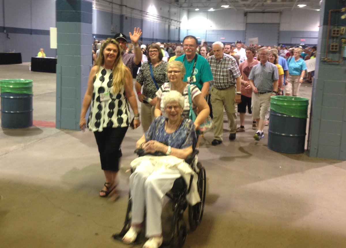Steeves family members enter Moncton Coliseum for World Record attempt.
