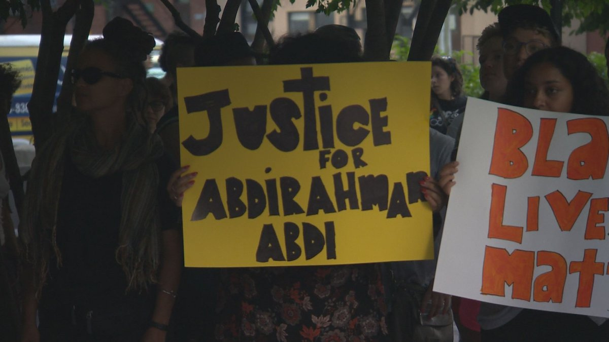 A vigil was held at Bethune Square to remember Abdirahman Abdi, who allegedly beaten to death by Ottawa police.