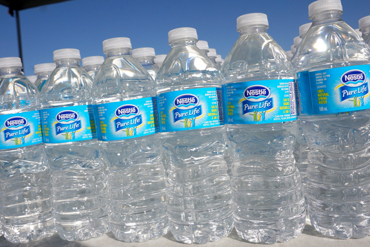 Rows of Nestle Pure Life bottled water are seen in this file image.