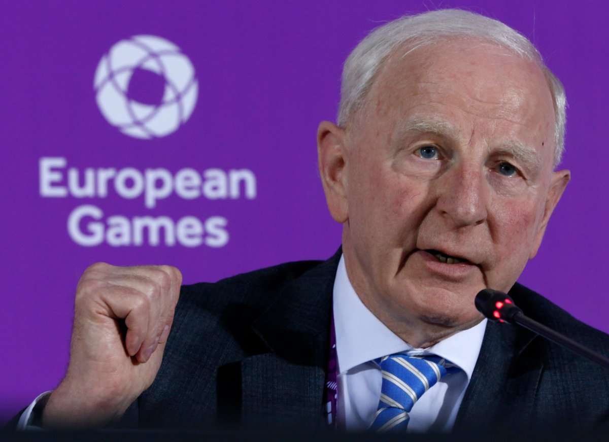 In this June 11, 2015 file photo, Patrick Hickey, the head of the European Olympic Committee speaks during a news conference on the eve of the opening of the 2015 European Games in Baku, Azerbaijan. Rio de Janeiro authorities have issued an arrest warrant for Hickey accused of scalping tickets for the Summer Games.