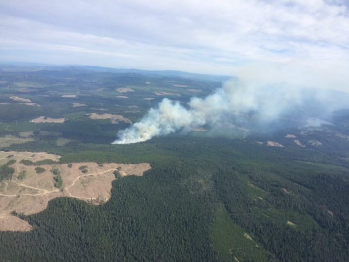 Forestry crews are battling a wildfire west of West Kelowna.