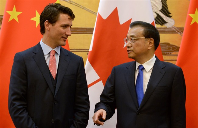 Premier of the People's Republic of China, Li Keqiang, seen here with Prime Minister Justin Trudeau during a signing ceremony for several tentative agreements in Beijing, China, on Wednesday, August 31, 2016, will visit Canada Sept. 21-24.