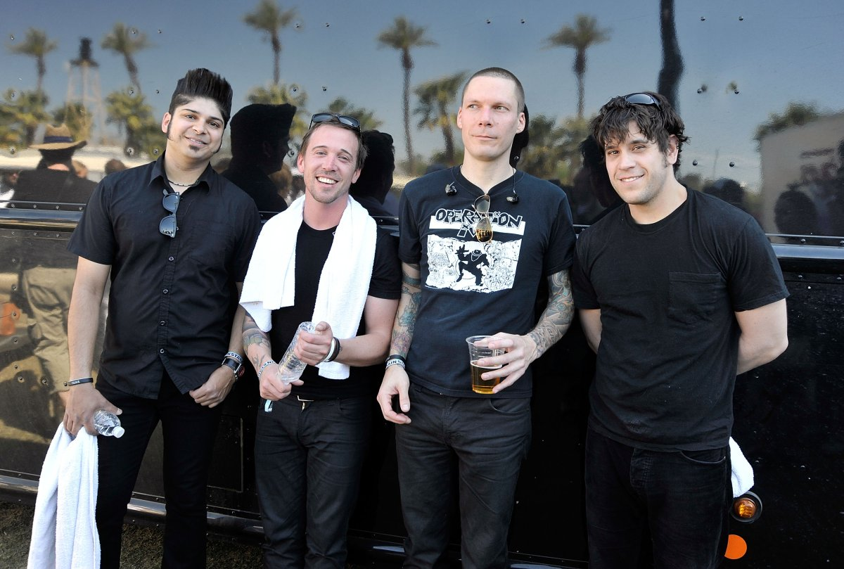 Musicians Ian D'Sa, Ben Kowalewicz, Aaron Solowoniuk, and Jon Gallant of Billy Talent pose backstage during day two of the Coachella Valley Music & Arts Festival 2009 held at the Empire Polo Club on April 18, 2009 in Indio, California.