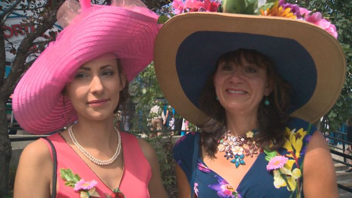Amy Zalasky (left) and Reesa John (right) put together their very own hats to wear at what could be the last Canadian Derby ever held in Edmonton. Aug. 20, 2016.