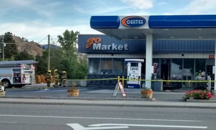 A photo taken several hours after a fire sparked at the Centex service station on Main Street and 11th Avenue in OK Falls early Sunday morning.