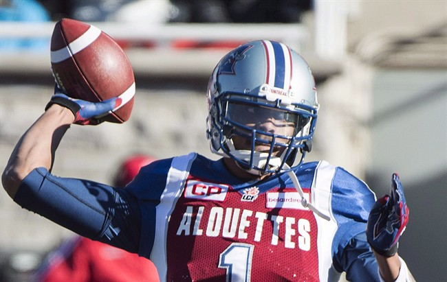 Montreal Alouettes' quarterback Brandon Bridge throws a pass during first half CFL football action against the Saskatchewan Roughriders, in Montreal, on Sunday, Nov. 8, 2015. The Saskatchewan Roughriders signed Canadian quarterback Bridge on Wednesday.The six-foot-five, 225-pound Bridges joins the Riders after being released Aug. 1 by the Montreal Alouettes.