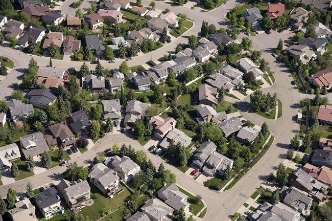 An aerial view of homes in Calgary.