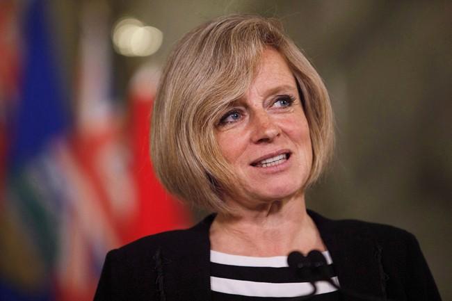 Alberta Premier Rachel Notley speaks during a media availability at the Alberta Legislature Building in Edmonton on May 26, 2016.