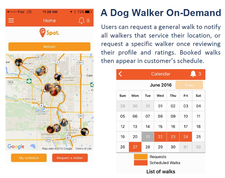 Dog walking app screenshot