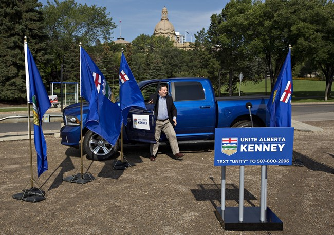 Alberta Conservative MP Jason Kenney arrives at a press conference as he begins the Unite Alberta Truck Tour in Edmonton Alta, on Monday, August 1, 2016.