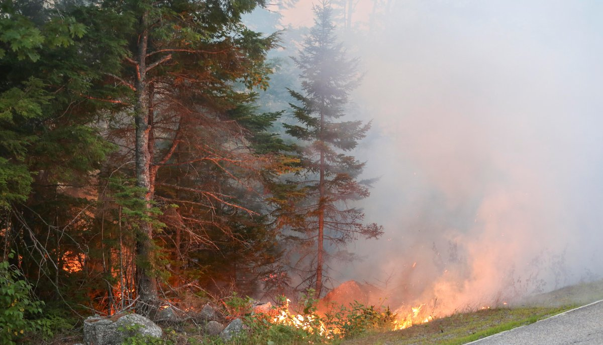A stubborn fire is pictured near Seven Mile Lake in Nova Scotia in this file photo.