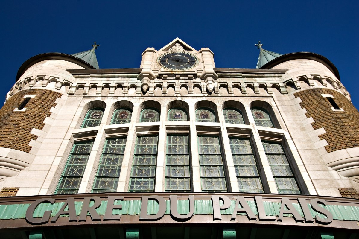 The Gare du Palais train station in Quebec City. The Gare du Palais serves as a multimodal station, as a bus and train station in the lower part of the town.