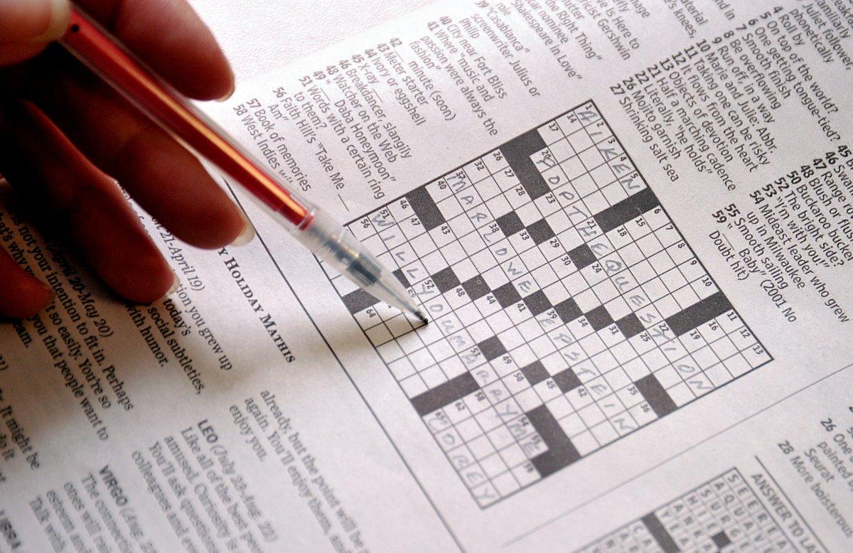 This April 18, 2011 photo shows the April 17 Sunday Washington Post crossword puzzle.