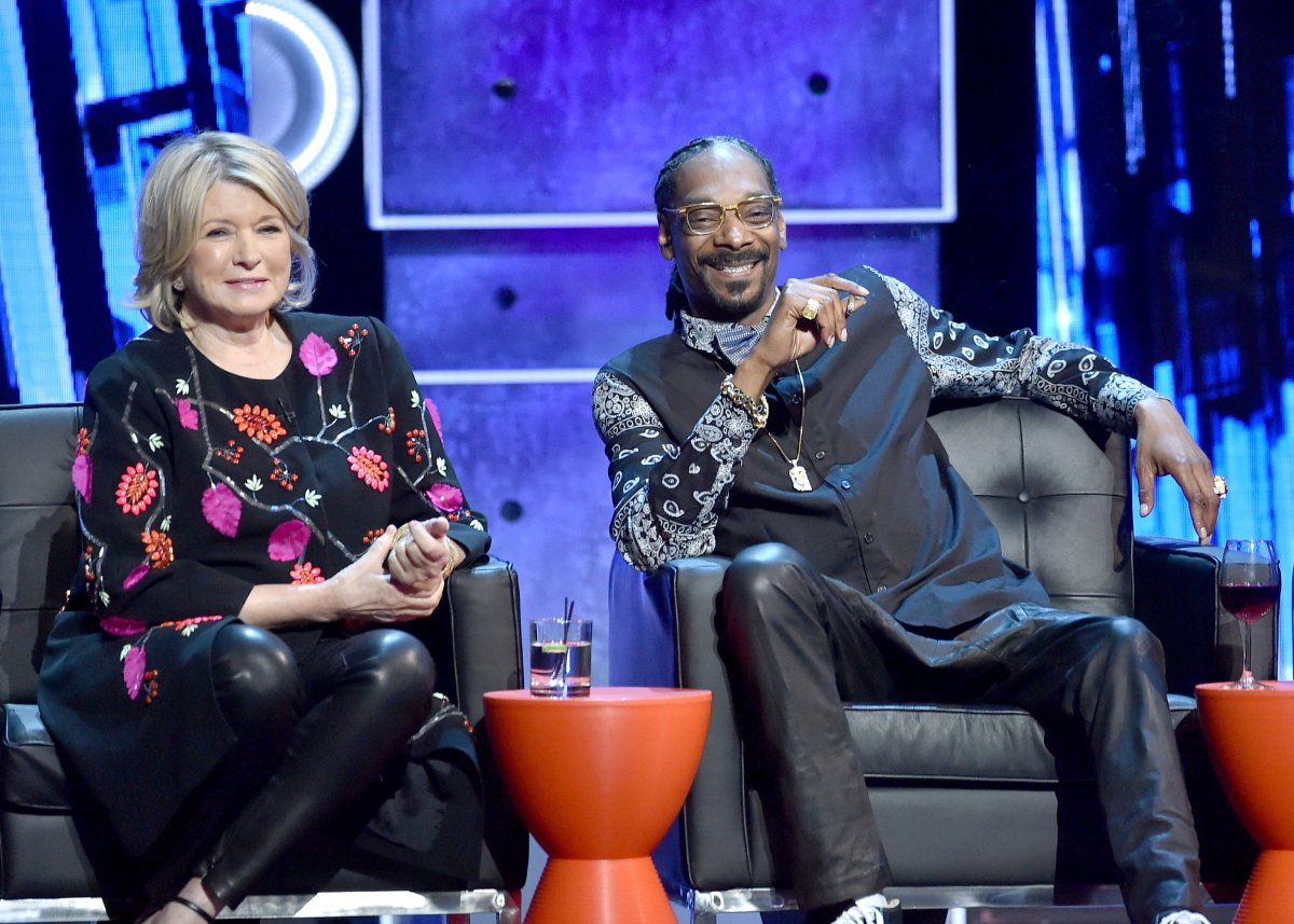 TV personality Martha Stewart (L) and rapper Snoop Dogg onstage at The Comedy Central Roast of Justin Bieber at Sony Pictures Studios on March 14, 2015 in Los Angeles, California.