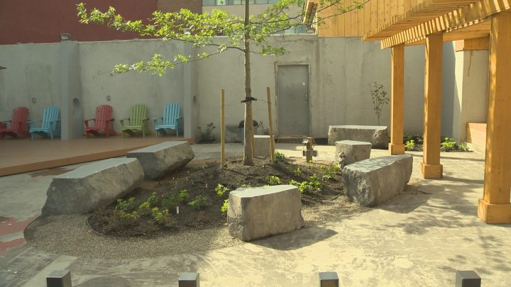The Kelowna Gospel Mission's new courtyard on Leon Avenue.