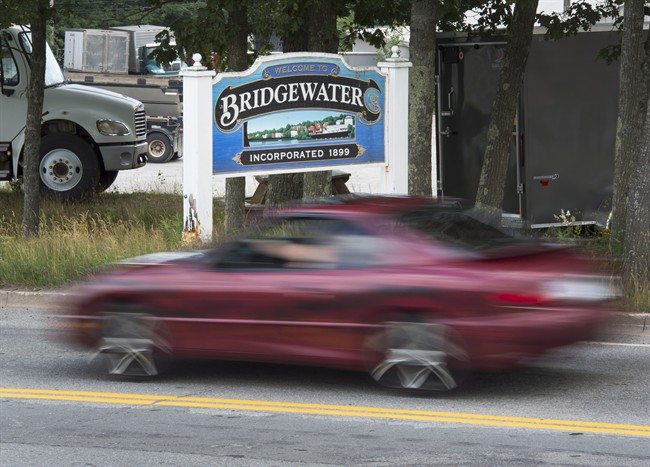 A Bridgewater, N.S. sign is seen on Saturday, July 30, 2016. Six male high school students, attending Bridgewater Junior Senior High School, are facing charges following an investigation into complaints that intimate images of at least 20 young female students were shared online without their consent.