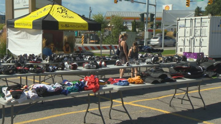West Kelowna hockey players were choosing their gear for the next season in 30 degree heat on Sunday.
