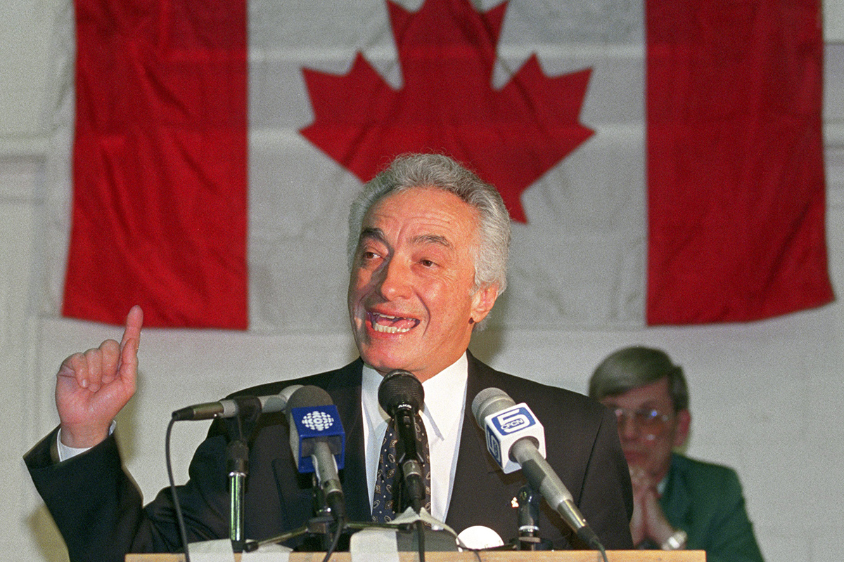 National Party Leader Mel Hurtig speaks during the Alberta launch of the National party in Calgary on Feb. 2, 1993.