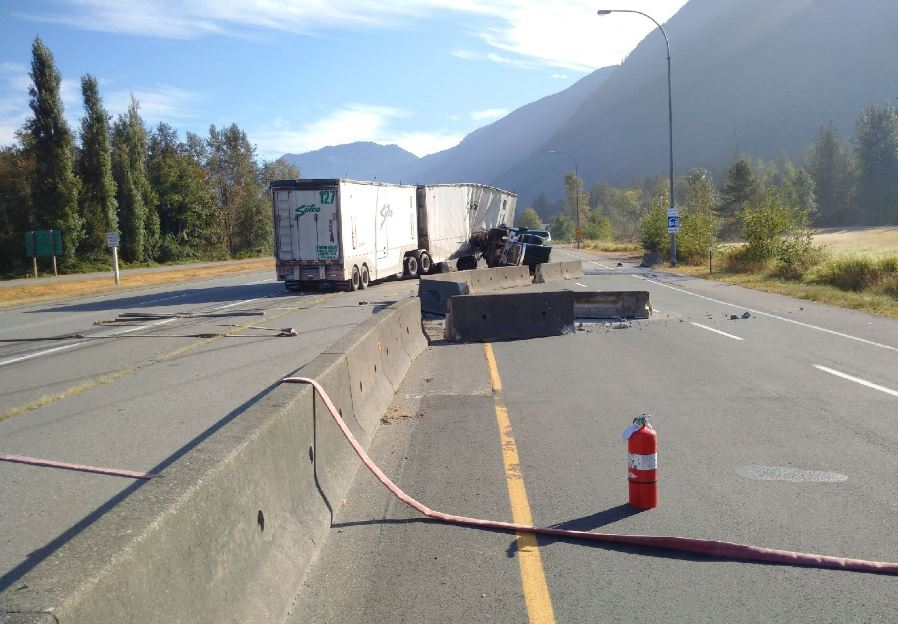 Officials said a tractor trailer was the only vehicle involved in the accident which closed Highway 1 near Highway 9 Monday morning.