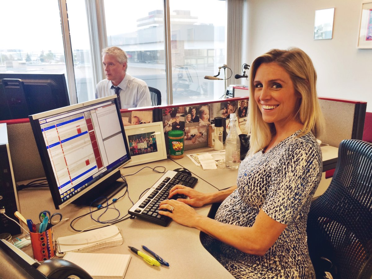 Global News anchor Carole Anne Devaney  in the Edmonton newsroom ahead of her second maternity leave.