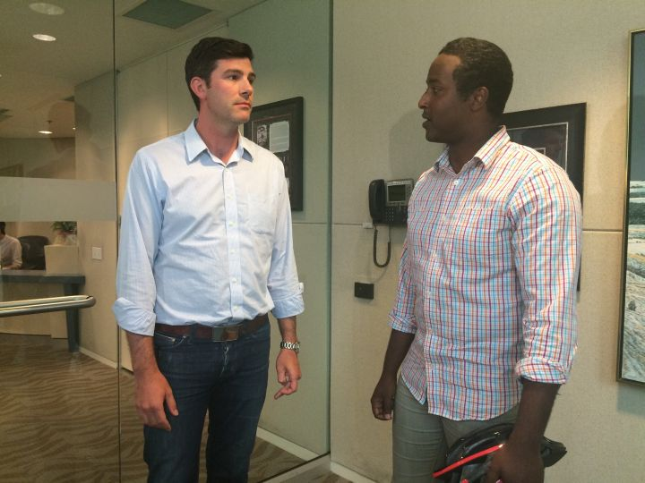 Edmonton Mayor Don Iveson meets with cyclist Bashir Mohamed at city hall Friday, August 19, 2016.