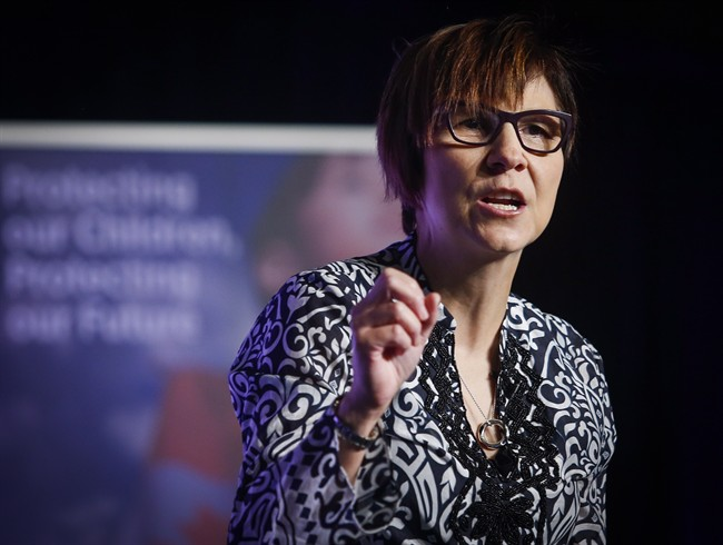 Dr. Cindy Blackstock speaks at the International Congress on Child Abuse and Neglect conference in Calgary, Alta., Wednesday, Aug. 31, 2016.