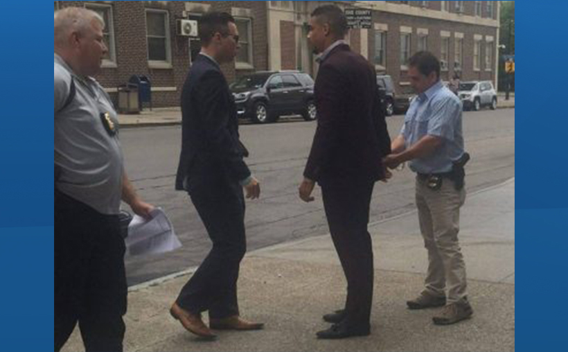 Evander Kane turns himself into Buffalo police Friday. morning in Buffalo, New York.