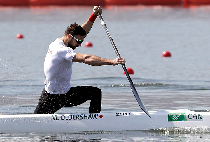 Canada's Mark Oldershaw paddles during the men's canoe single 1000m semi-final during the 2016 Summer Olympics in Rio de Janeiro, Brazil, Monday, Aug. 15, 2016.