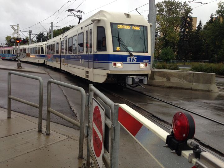 The Metro Line LRT in Edmonton, near the Royal Alexandra Hospital.