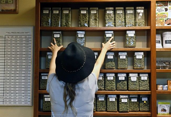 In this Thursday, Aug. 11, 2016 file photo, an employee arranges glass display containers of marijuana on shelves at a retail and medical cannabis dispensary in Boulder, Colo.