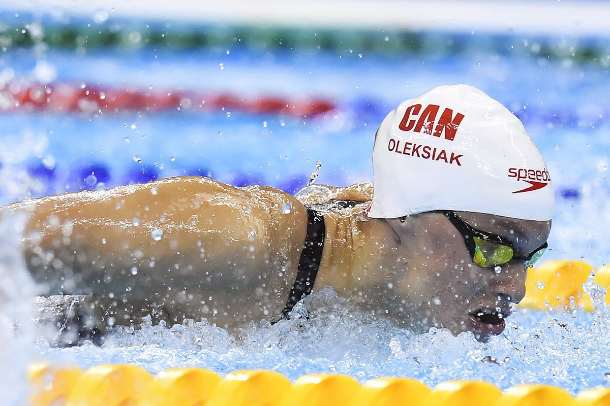 Penny Oleksiak, of Canada, swims in the Women's 100m Butterfly semifinal at the 2016 Olympic Games in Rio de Janeiro, Brazil on Saturday, Aug. 6, 2016.