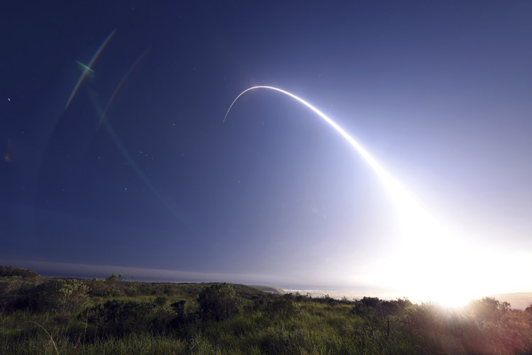 An unarmed Minuteman III intercontinental ballistic missile launches during an operational test from Vandenberg Air Force Base, California.