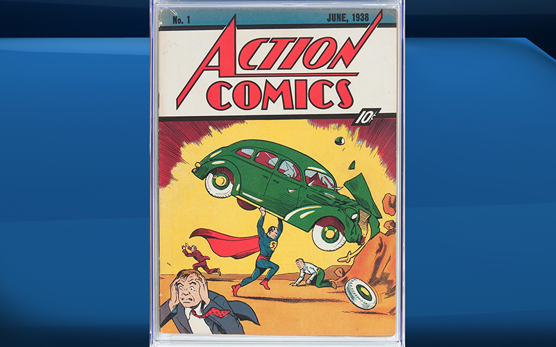 A rare copy of Superman's 1938 comic-book. In a statement, Dallas-based Heritage Auctions said the copy of Action Comics No. 1, bearing a cover price of 10 cents, sold Thursday, Aug. 4, 2016, for $956,000.
