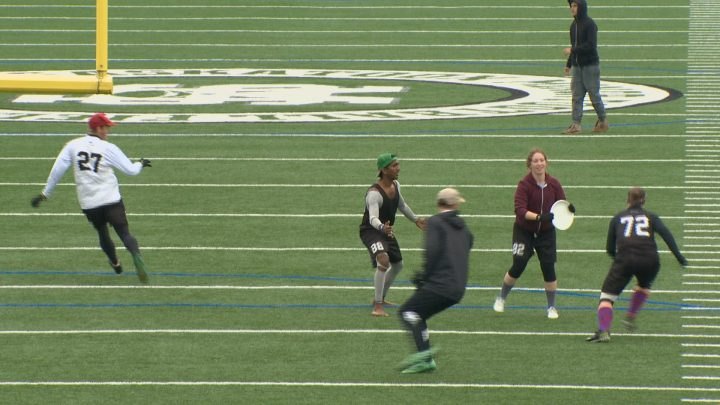 Local ultimate players demonstrate the sport at an event announcing Saskatoon as host of the 2017 Canadian Ultimate Championships Mixed division.