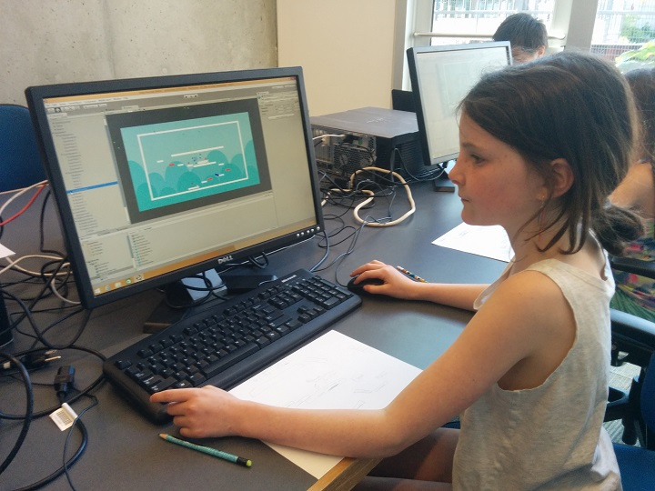 One student working on her video game.