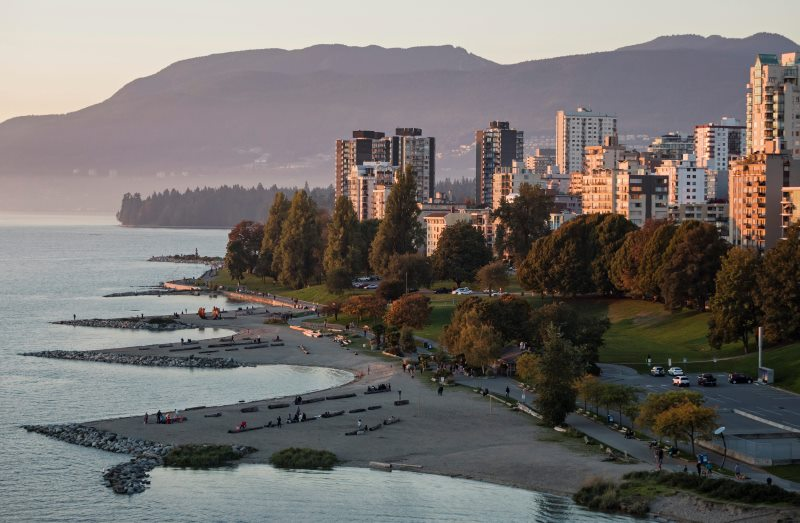 A scenic view at twilight of Sunset Beach on the West End's waterfront, English Bay, Vancouver, B.C.